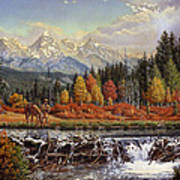 Western Mountain Landscape Autumn Mountain Man Trapper Beaver Dam Frontier Americana Oil Painting Poster