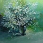 White flowers in a Glass Vase Poster