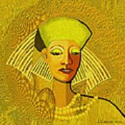 189 Metallic Woman Golden Pearls Art Print