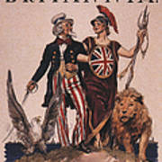 1918 1910s Usa Uncle Sam Ww1  Lions Art Print