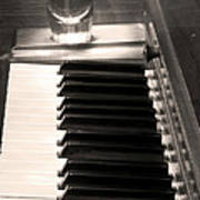 A Shot Of Bourbon Whiskey And The Bw Piano Ivory Keys In Sepia Art Print