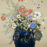 A Vase Of Blue Flowers Print by Odilon Redon