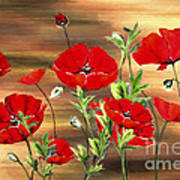 Abstract Poppies Painting On Wood Art Print