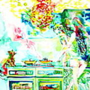 Angel Ghost Girl Cooking Again In Her Passed Life's Kitchen With Her Friend Cat Art Print