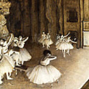 Ballet Rehearsal On Stage Art Print