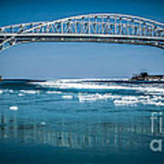 Blue Water Bridges With Reflection And Ice Flow Art Print