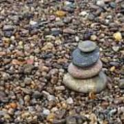 Cairn On Wet Pebbles Art Print
