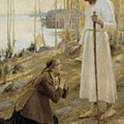 Christ And Mary Magdalene A Finnish Legend Art Print