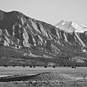 Colorado Rocky Mountains Flatirons With Snow Covered Twin Peaks Art Print