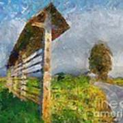 Country Road With Hayrack Art Print