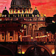 Eternal City  Rome St Peter Vatican At Dusk Art Print