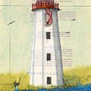 Faulkner Island Lighthouse Ct Nautical Chart Map Art Art Print