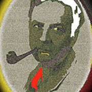 Film Noir Mystery Writer Raymond Chandler Vignetted Texture Color Added 2013 Art Print