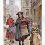 French Street Musicians -  Fiddler Art Print