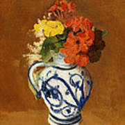 Geraniums And Other Flowers In A Stoneware Vase Art Print
