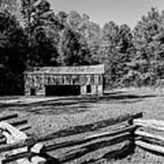 Historical Cantilever Barn At Cades Cove Tennessee In Black And White Art Print by Kathy Clark