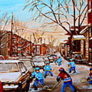 Hockey Art- Verdun Street Scene - Paintings Of Montreal Art Print