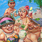 Humorous Snowbirds On Vacation - Senior  Citizen Citizens - Beach - Illustration  Art Print