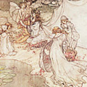Illustration For A Fairy Tale Fairy Queen Covering A Child With Blossom Art Print by Arthur Rackham