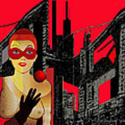 014 - In  Red   City Darkness Art Print