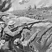 Lewis Gun In The British Trenches Art Print