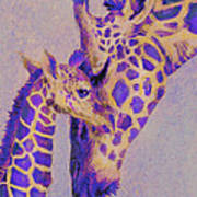 Loving Purple Giraffes Art Print