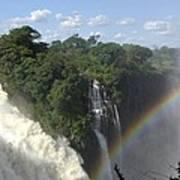 Mist And Rainbow At Victoria Falls Art Print