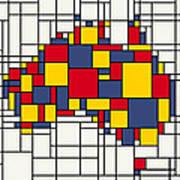 Mondrian Inspired Australia Map Art Print