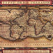 Ortelius World Map -typvs Orbis Terrarvm - 1570 Art Print