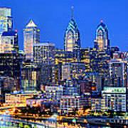 Philadelphia Skyline At Night Evening Panorama Art Print