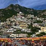 Positano Crowded Beach Art Print