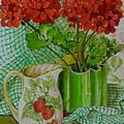 Red Geranium With The Strawberry Jug And Cherries Art Print