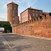 Sandomierska Tower And Wawel Castle Wall In Krakow Art Print