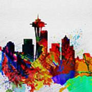 Seattle Watercolor Skyline 2 Art Print