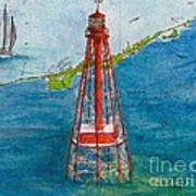 Sombrero Key Lighthouse Fl Chart Art Cathy Peek  Art Print