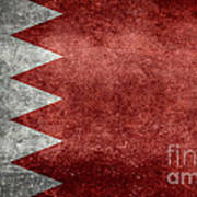 The Flag Of The Kingdom Of Bahrain Vintage Version Art Print