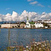 The Pond In Reykjavik. Art Print