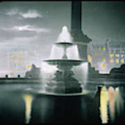 Trafalgar Square At Night  Showing Art Print