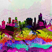 Tulsa Watercolor Skyline Art Print