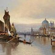 Venetian Scene With A View Of Santa Maria Della Salute Art Print
