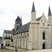 West Facade Of The Church - Fontevraud Abbey Art Print