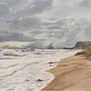 Whitby, Yorkshire A Deserted Beach Art Print