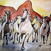 Wild Mustangs Art Print by Sidney Holmes