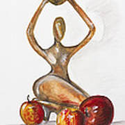 Woman In The African Style  With Red Apples Art Print