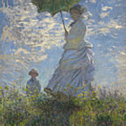 Woman With A Parasol Madame Monet And Her Son Art Print by Claude Monet