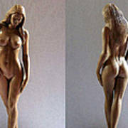 Wood Sculpture Of Naked Woman Art Print