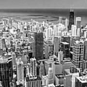 0036 Chicago Skyline Black And White Art Print