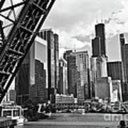 0365 North Branch Chicago River Black And White Art Print