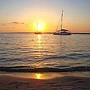 0531 Sailboats At Sunset On Sound Art Print