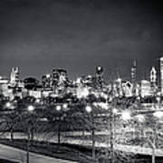0647 Chicago Black And White Art Print